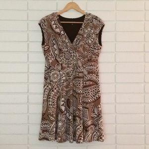 Jones New York Tan & Brown Tribal Print Dress